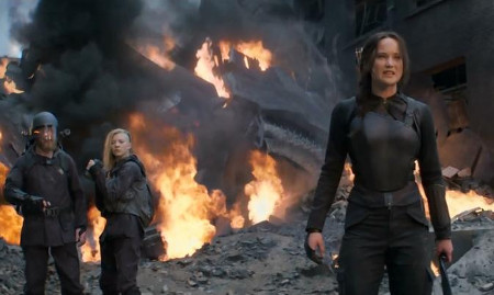 Midst the rubble, Katniss is determined to win