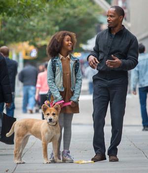 Annie, her dog Sandy and Mr. Stacks (Jamie Foxx)
