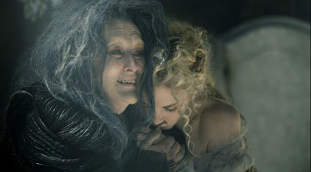 The witch (Meryl Streep) expresses love for Rapunzel