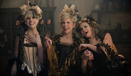 Cinderella's stepmom and step sisters laugh at her