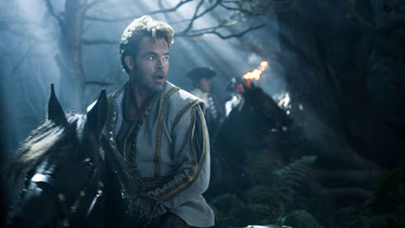 The prince (Chris Pine) desperate to find Cinderella