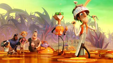 The gang walking through the syrup bog