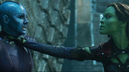 Nebula and Gamora square off to fight