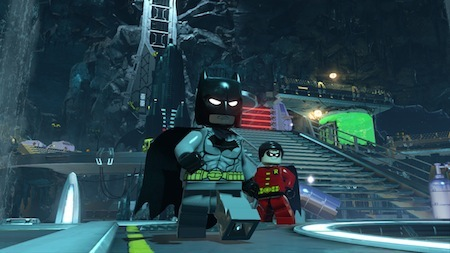 Batman and Robin chilling in the Bat-Cave.