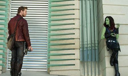 Quill (Chris Pratt) and Gamora (Zoe Saldana) first meet