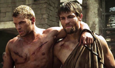 Hercules and friend Sotiris as slaves and gladiators