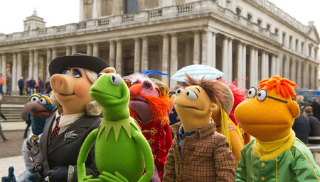 Walter (second from right) with Muppets in Europe