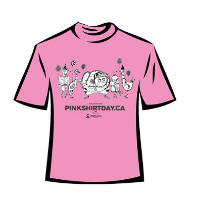 Official Pink Shirt Day T's are available at pinkshirtday.ca