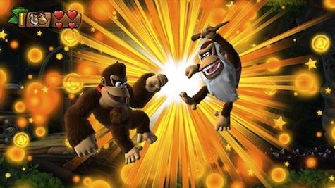 Donkey and Cranky pounding fists
