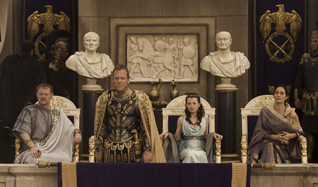 Cassia, her parents and Corvus at the gladiator games