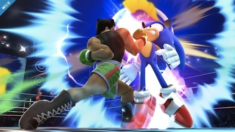 Little Mac laying the smack down on Sonic.