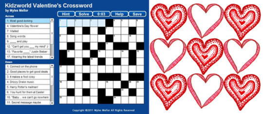 Valentine S Crossword Puzzle Kids Trivia Games Love History
