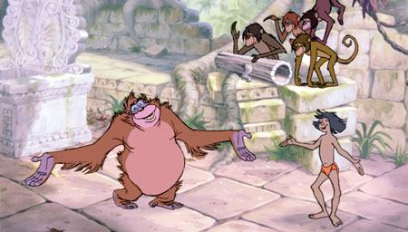 Mowgli dancing with King Louie