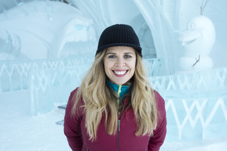 Jennifer Lee in the Frozen themed room at the Hotel de Glace
