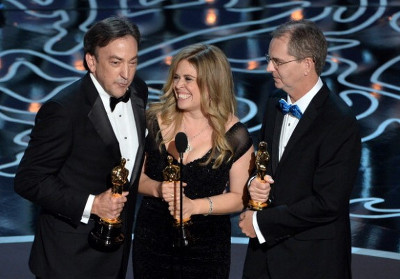 Accepting the Oscar for Best Animated Film