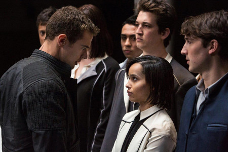 Four (Theo James) with trainees Christina (Zoe Kravitz) Peter (Miles Teller ) and Will (Ben Lloyd-Hughes)