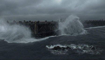 The ark strikes a rock