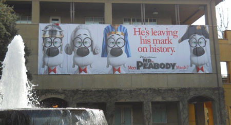 Banner for Mr. Peabody and Sherman on the DreamWorks Campus