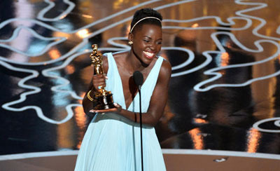 Lupita accepting her award for 12 Years A Slave