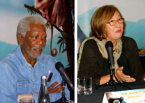 Actor/Narrator Morgan Freeman and Dr. Patricia Wright Scientist/Activist for the lemurs