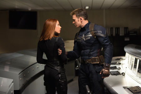 Black Widow (Scarlett Johansson) and Captain America (Chris Evans) on a mission