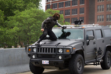 Winter Soldier attacks Nick Fury's car