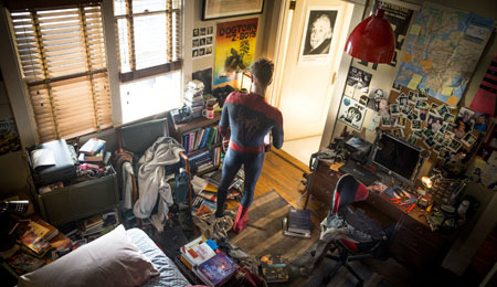 Spider-Man/Peter in his room at home