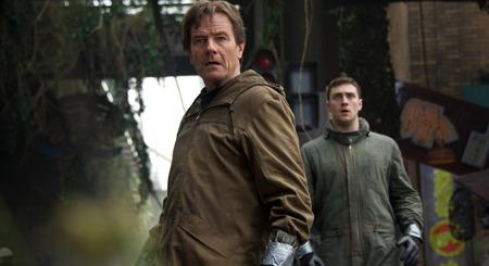 Bryan Cranston and Aaron Taylor Johnson in nuke plant