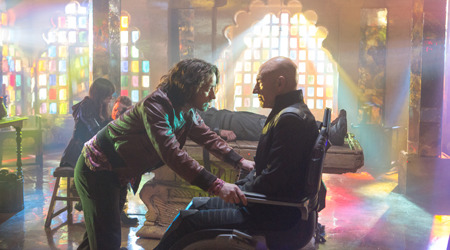 Young Charles Xavier (James McAvoy) meets himself (Patrick Stewart) in the future