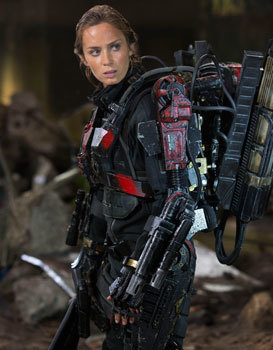 Emily as Rita in the Exo-Suit