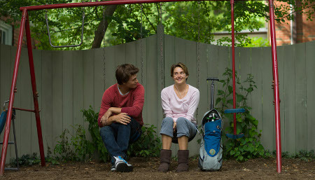 Gus and Hazel on her childhood swing set