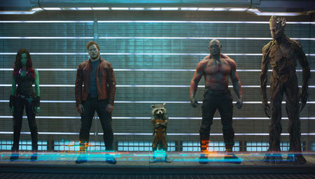 The Guardians in a police line up