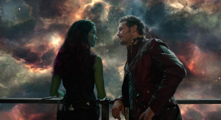 Quill and Gamora get romantic