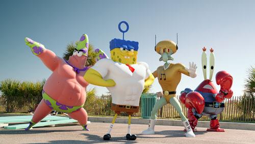 SpongeBob and friends in SpongeBob: Sponge Out of Water!