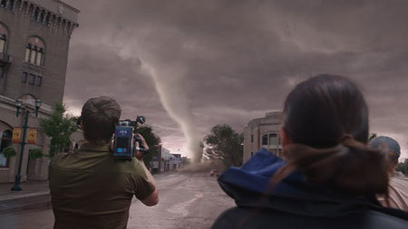 Jacob (Jeremy, back to camera) shoots the first twister
