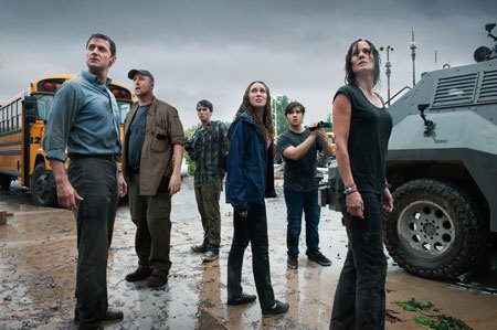 Stars of Into the Storm, including Nathan (in the back)