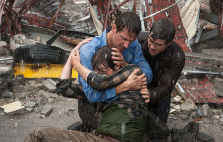 After the storm: Gary (Richard Armitage) with sons Trey (Nathan Kress) and Donnie