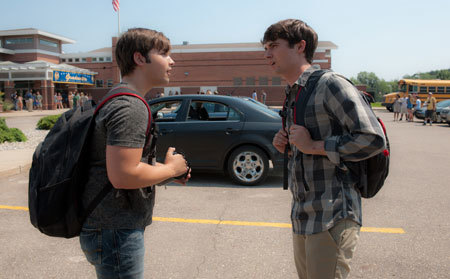 Trey (Nathan Kress) and bro Donnie (Max Deacon) outside school