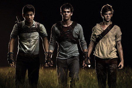 Minho (Ki Hong Lee), Thomas (Dylan O'Brien) and Newt (Thomas Brodie/Sangster)