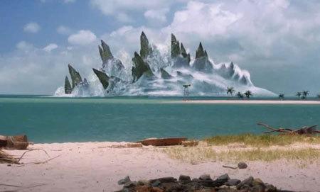 Godzilla's fins look like mountains