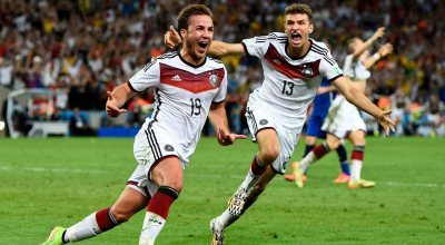German player is elated after scoring World Cup winning goal