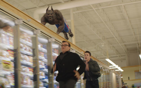 Jack as R.L. Stine running from his werewolf creation