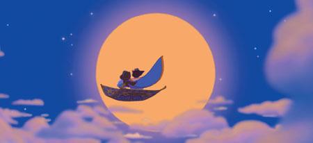 Aladdin and Jasmin flying on the magic carpet