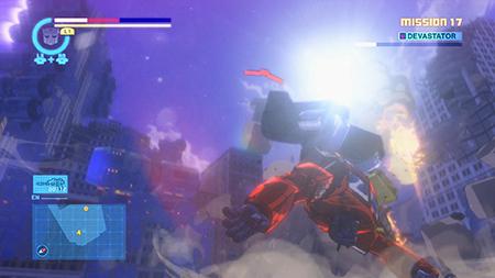 Optimus Prime taking a beating from Devastator!