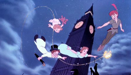Peter, Wendy, Michael and John flying