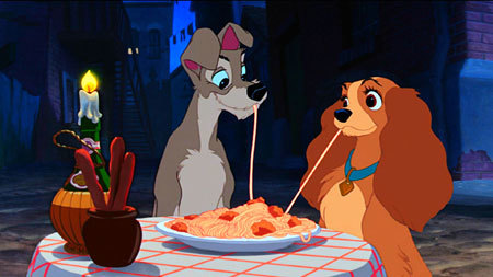 Lady and the Tramp sharing spaghetti