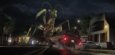 A giant praying mantis attacks!