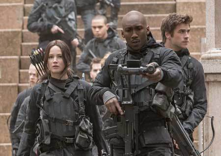 Katniss, Boggs and Gale on the Capitol steps