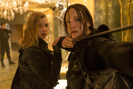 Katniss and Cressida in the Capitol
