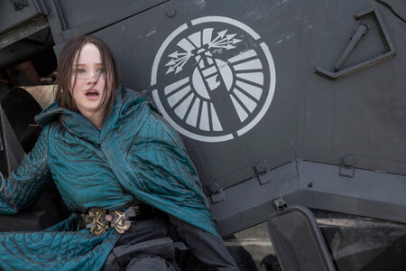 Katniss watches the bombs fall